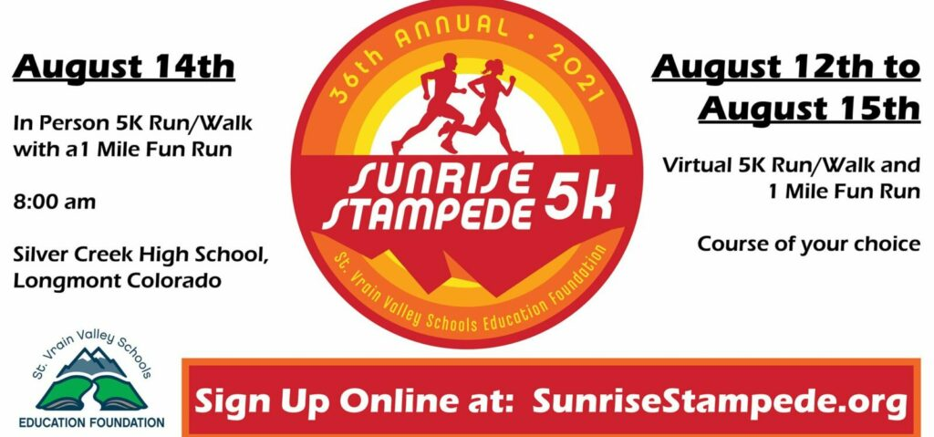 Sunrise Stampede fundraiser benefits St Vrain Valley Schools with 5k and Fun Run.